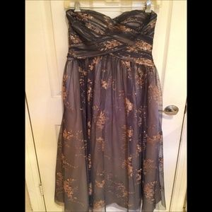 ADRIANNA PAPELL Grey and Rose Gold Gown